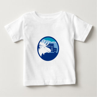 Moose Head School Bus Circle Retro Baby T-Shirt