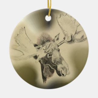 Moose Head Sketch Ceramic Ornament