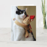 Moose Hugging Kitty Cat Christmas Greeting Card
