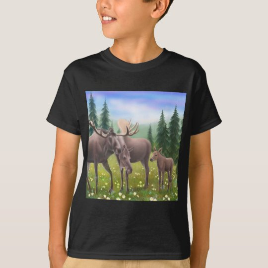 Moose in a Northern Forest Kids Dark T-Shirt