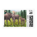 Moose in a Northern Forest Postage