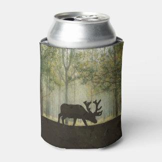 Moose in Forest Illustration Can Cooler