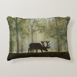 Moose in Forest Illustration Decorative Pillow