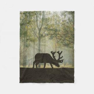Moose in Forest Illustration Fleece Blanket