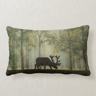 Moose in Forest Illustration Lumbar Pillow