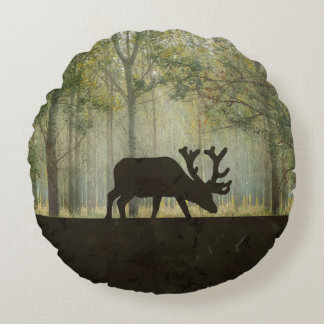 Moose in Forest Illustration Round Pillow