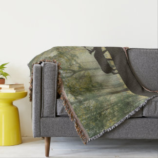 Moose in Forest Illustration Throw