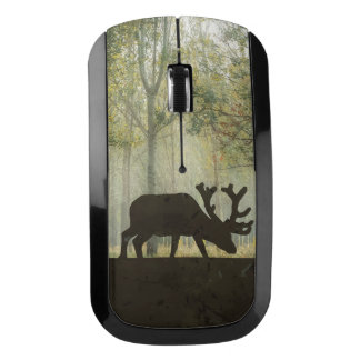 Moose in Forest Illustration Wireless Mouse