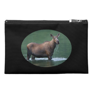 Moose in pool of emerald water travel accessories bag