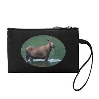 Moose in pool of emerald water change purse