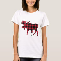 Moose in Red & Black Buffalo Plaid T-Shirt