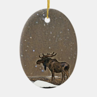Moose in Snow Double-Sided Oval Ceramic Christmas Ornament
