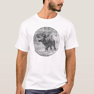 Moose in Snow Emblem T-Shirt