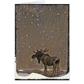 Moose in Snow Greeting Card