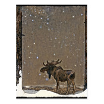 Moose in Snow Postcard