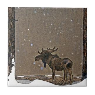 Moose in Snow Tile
