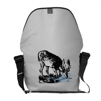 Moose in Stream Courier Bag