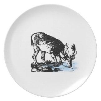 Moose in Stream Dinner Plate