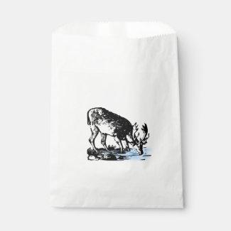 Moose in Stream Favor Bags