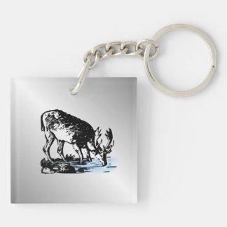 Moose in Stream Keychain
