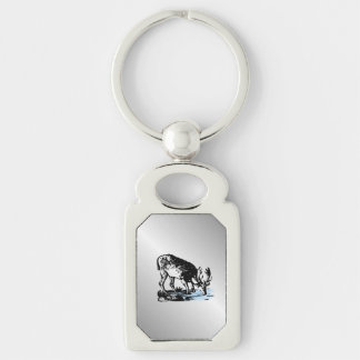 Moose in Stream Silver Keychain