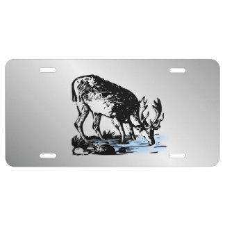 Moose in Stream Silver License Plate