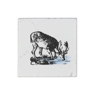 Moose in Stream Stone Magnet