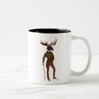 Moose In Suit Full 2 Two-Tone Coffee Mug