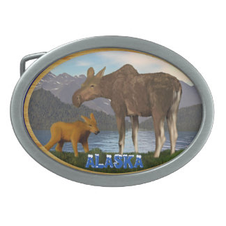 Moose in the Meadow Oval Belt Buckle