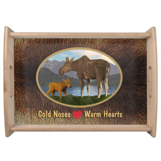 Moose In The Meadow Serving Tray