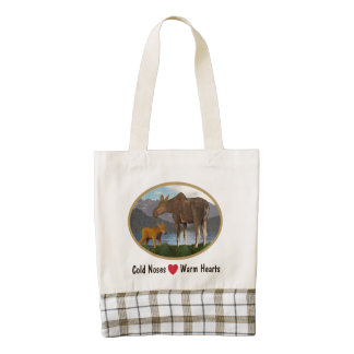 Moose In The Meadow Zazzle HEART Tote Bag