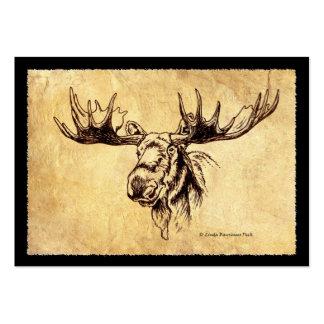 Moose Ink Drawing Dark Brown Border Large Business Card
