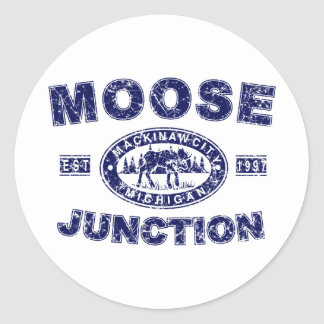 Moose-Junction-Distressed-[ Classic Round Sticker