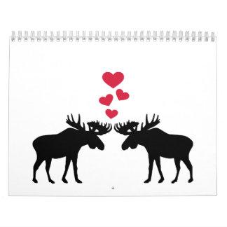 Moose love red hearts wall calendars