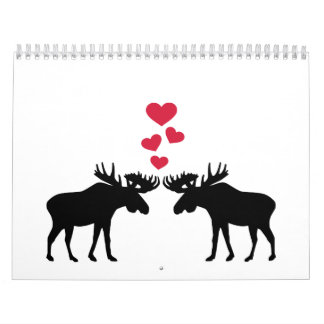 Moose love red hearts calendar