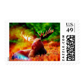 Moose Lying in the Sun Stamp