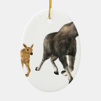 Moose Mom & Baby Ceramic Ornament