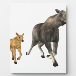 Moose Mom & Baby Plaque