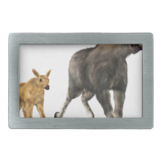 Moose Mom & Baby Rectangular Belt Buckle