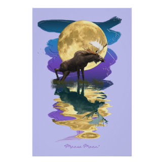 Moose & Moon Reflecting Wildlife Art Poster