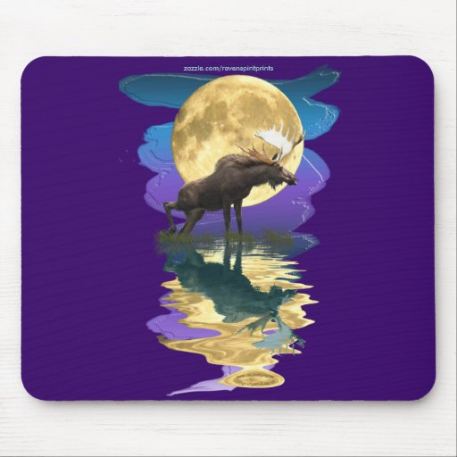 Moose & Moon Wildlife Art Mousepad