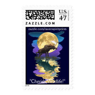 Moose & Moon Wildlife Supporter Postage stamps