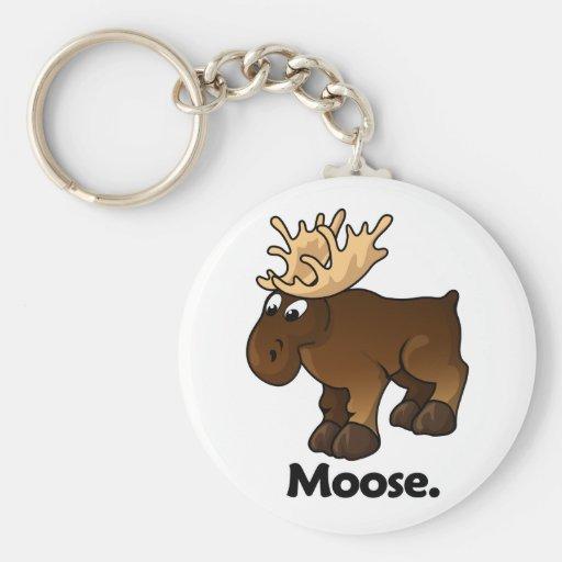 Moose Moose. Basic Round Button Keychain