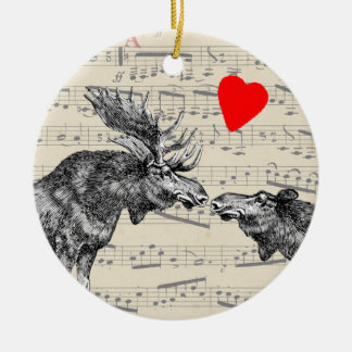 "Moose Music ""The Sound of Moose-ic"" Loving heart Ceramic Ornament"