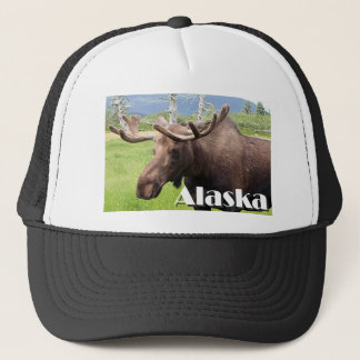 Moose near Anchorage, Alaska, USA (caption) Trucker Hat