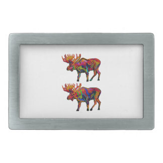 MOOSE OF TWO RECTANGULAR BELT BUCKLE