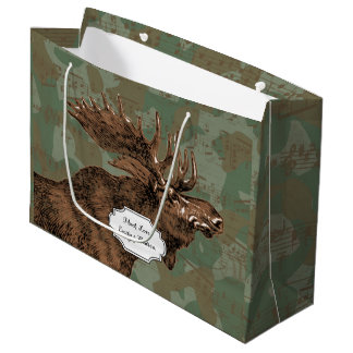 Moose on Camouflage Large Gift Bag