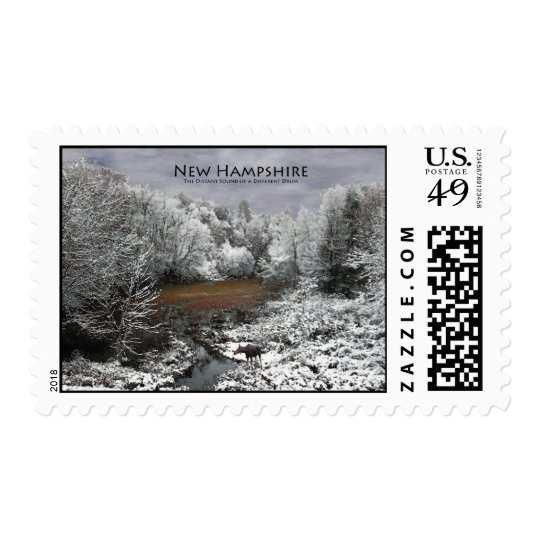 Moose on Snowy Oxbow: New Hampshire Stamp