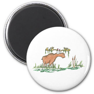 Moose on the loose 2 inch round magnet