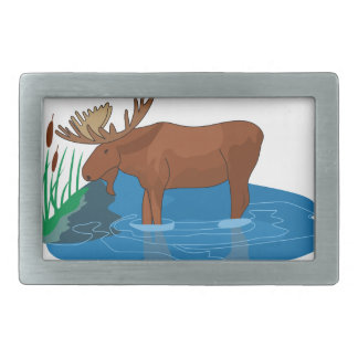 Moose on The Loose Rectangular Belt Buckle